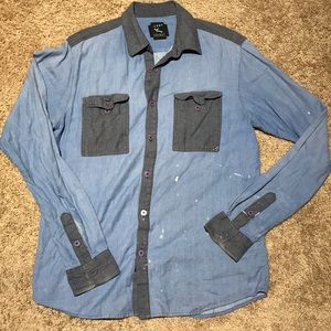 Lost Chambray Long Sleeve Button Down Work Shirt
